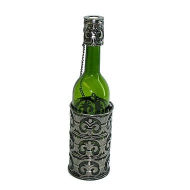 Three Star Fleur De Lis Patterned 1 Bottle Tabletop Wine Rack