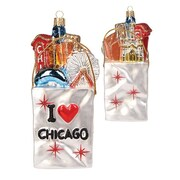 PinnaclePeak Pinnacle Peak Glass I Love Chicago Shopping Bag Christmas Ornament