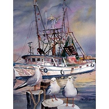 Caroline's Treasures Sea Gulls and shrimp boats 2-Sided Garden Flag