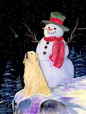 Caroline's Treasures Snowman w/ Golden Retriever 2-Sided Garden Flag