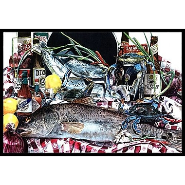 Caroline's Treasures Fish and Beers From New Orleans Doormat; Rectangle 1'6'' x 2' 3''
