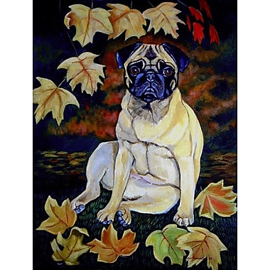 Caroline's Treasures Old Fawn Pug in fall House Vertical Flag