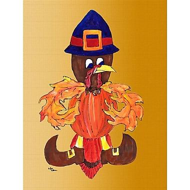 Caroline's Treasures Thanksgiving Turkey Pilgrim Fleur de lis 2-Sided Garden Flag