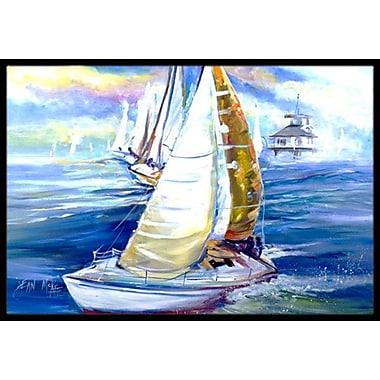 Caroline's Treasures Rock My Boat Sailboats Doormat; Rectangle 2' x 3'