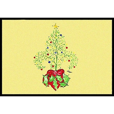 Caroline's Treasures Christmas Tree Fleur De Lis Doormat; Rectangle 2' x 3'