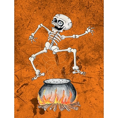 Caroline's Treasures Skeleton jumping from Witches Caldron Halloween 2-Sided Garden Flag