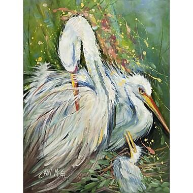 Caroline's Treasures White Egret in the Rain 2-Sided Garden Flag