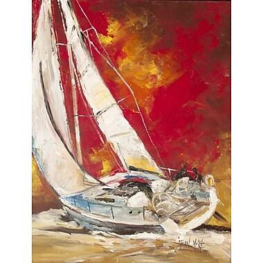 Caroline's Treasures Red Sailboat 2-Sided Garden Flag