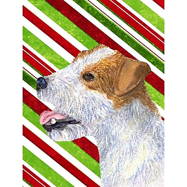 Caroline's Treasures Jack Russell Terrier Candy Cane Holiday Christmas 2-Sided Garden Flag
