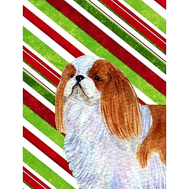 Caroline's Treasures English Toy Spaniel Candy Cane Holiday Christmas 2-Sided Garden Flag