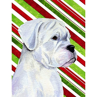 Caroline's Treasures Boxer Candy Cane Holiday Christmas 2-Sided Garden Flag