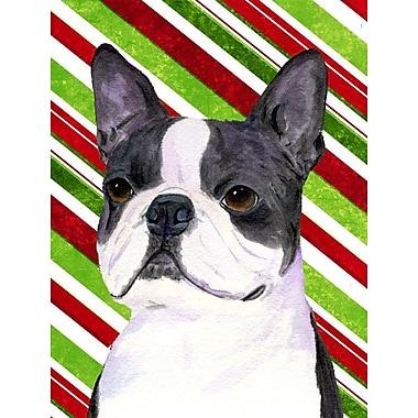 Caroline's Treasures Boston Terrier Candy Cane Holiday Christmas 2-Sided Garden Flag