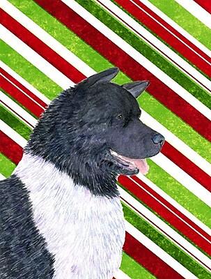 Caroline's Treasures Akita Candy Cane Holiday Christmas 2-Sided Garden Flag