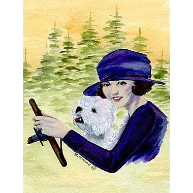 Caroline's Treasures Woman driving w/ her Westie 2-Sided Garden Flag