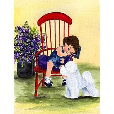 Caroline's Treasures Little Girl w/ her Bichon Frise 2-Sided Garden Flag