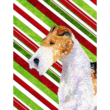 Caroline's Treasures Fox Terrier Candy Cane Holiday Christmas 2-Sided Garden Flag