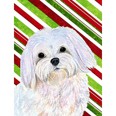 Caroline's Treasures Maltese Candy Cane Holiday Christmas 2-Sided Garden Flag