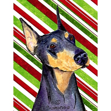 Caroline's Treasures Doberman Candy Cane Holiday Christmas 2-Sided Garden Flag