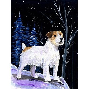 Caroline's Treasures Starry Night Jack Russell Terrier House Vertical Flag