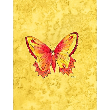 Caroline's Treasures Butterfly on Yellow House Vertical Flag