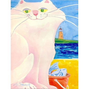 Caroline's Treasures White Cat by the Lighthouse House Vertical Flag