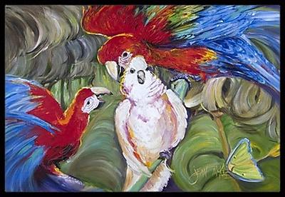 Caroline's Treasures Menage-A-Trois Parrots Doormat; Rectangle 1'6'' x 2' 3''