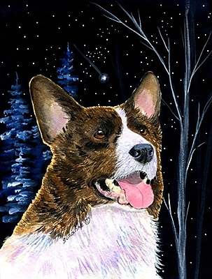 Caroline's Treasures Starry Night Corgi House Vertical Flag