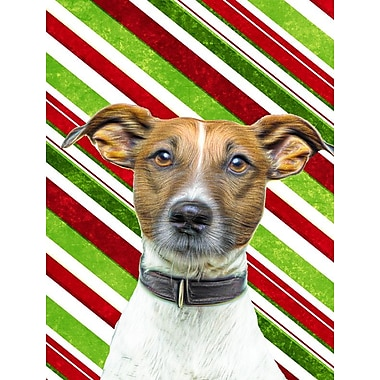 Caroline's Treasures Candy Cane Holiday Christmas Jack Russell Terrier 2-Sided Garden Flag