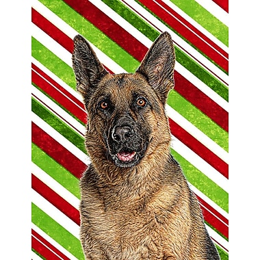 Caroline's Treasures Candy Cane Holiday Christmas German Shepherd 2-Sided Garden Flag
