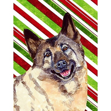 Caroline's Treasures Norwegian Elkhound Candy Cane Holiday Christmas 2-Sided Garden Flag