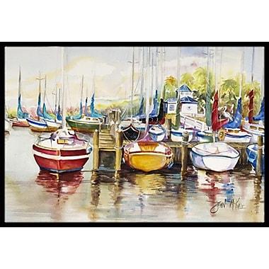 Caroline's Treasures Paradise Yacht Club Ii Sailboats Doormat; Rectangle 1'6'' x 2' 3''