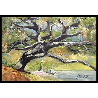 Caroline's Treasures Oak Tree on The Bay w/ Sailboats Doormat; Rectangle 2' x 3'