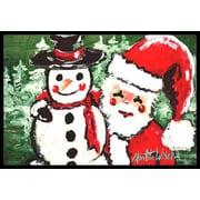 Caroline's Treasures Friends Snowman and Santa Claus Doormat; 2' x 3'