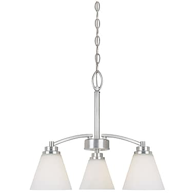 Designers Fountain Arcadia 3 Light Chandelier; Satin Platinum with Frosted White Shade