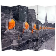 Oriental Furniture 71.25'' x 94.5'' Double Sided Golden Buddhas 6 Panel Room Divider