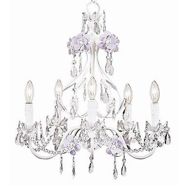 Jubilee Collection Flower Garden 5-Light Crystal Chandelier; Lavender / White