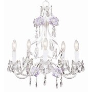 Jubilee Collection Flower Garden 5-Light Crystal Chandelier; Lavender / White