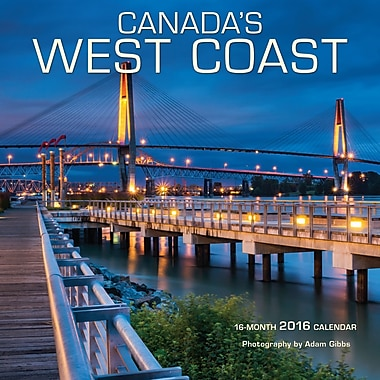 BrownTrout Publishers – Calendrier mural 2016, 12 mois, Canada's West Coast, 7 x 7 po, anglais