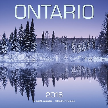 BrownTrout Publishers – Calendrier mural 2016, 12 mois, Ontario, 7 x 7 po, bilingue