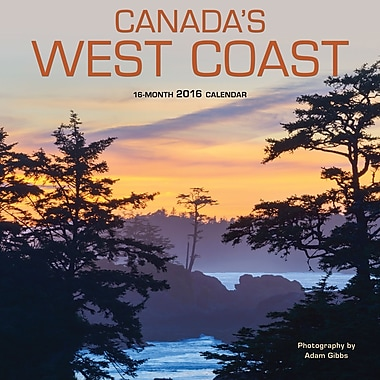 BrownTrout Publishers – Calendrier mural 2016, 12 mois, Canada's West Coast, 12 x 12 po, anglais