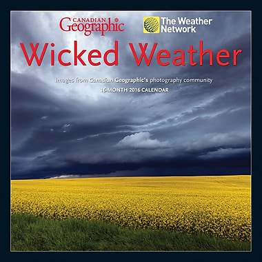 BrownTrout Publishers – Calendrier mural 2016, 12 mois, Wicked Weather, 12 x 12 po, anglais