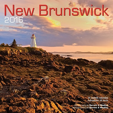 BrownTrout Publishers – Calendrier mural 2016, 12 mois, New Brunswick, 12 x 12 po, bilingue