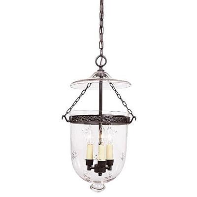 JVI Designs 3 Light Large Bell Jar Foyer Pendant w/ Star Glass; Pewter