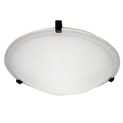 PLC Lighting Nuova Flush Mount; Polished Brass / Frost / 3.5'' H x 12'' W / J118mm