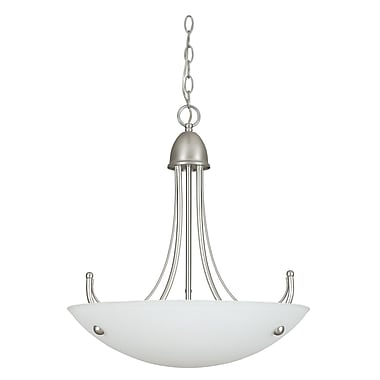Sunset Lighting Tempest 3-Light Bowl Pendant; Satin Nickel