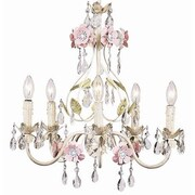 Jubilee Collection Flower Garden 5-Light Crystal Chandelier; Ivory / Sage / Pink