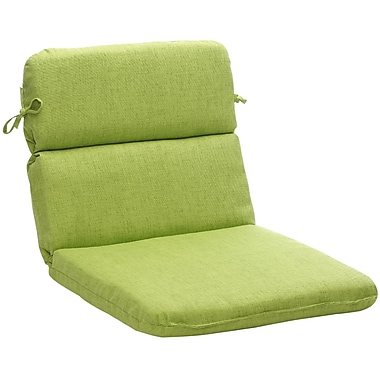 Pillow Perfect Outdoor Lounge Chair Cushion; Green Textured Solid