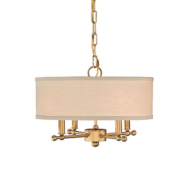 Remington Lamp 4-Light Mini Pendant; Antique Brass/Putty Linen