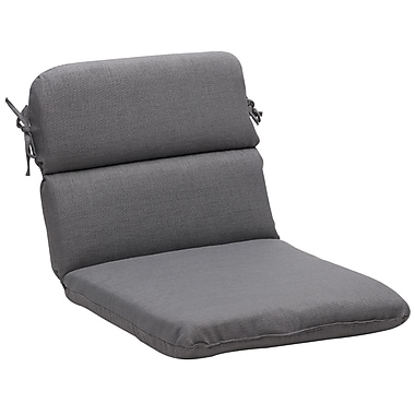 Pillow Perfect Outdoor Lounge Chair Cushion; Gray Textured Solid