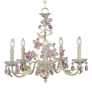 Jubilee Collection Flower 5-Light Crystal Chandelier; Soft Green/Pink